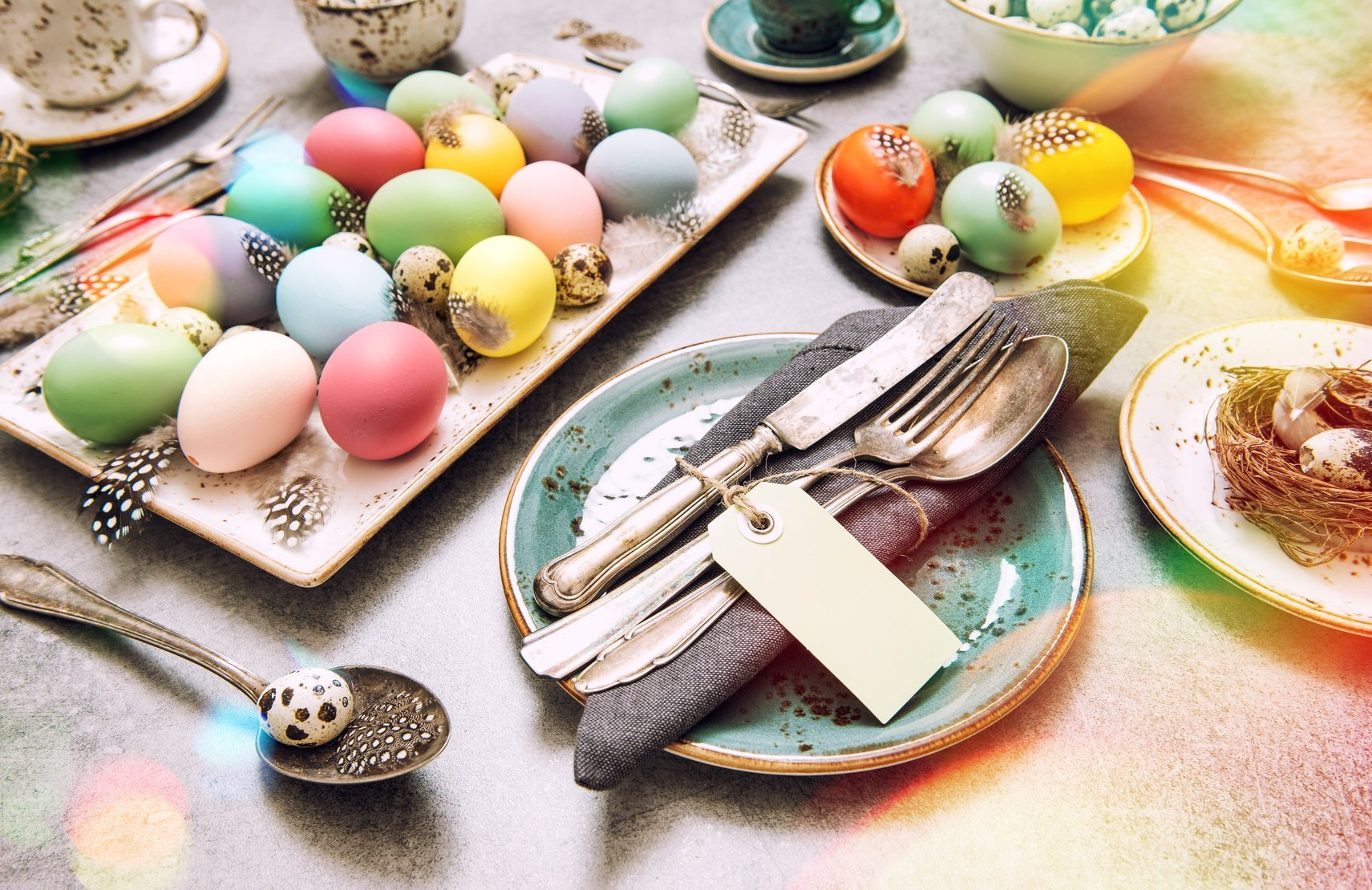 Easter decoration colorful eggs green plants vintage toned