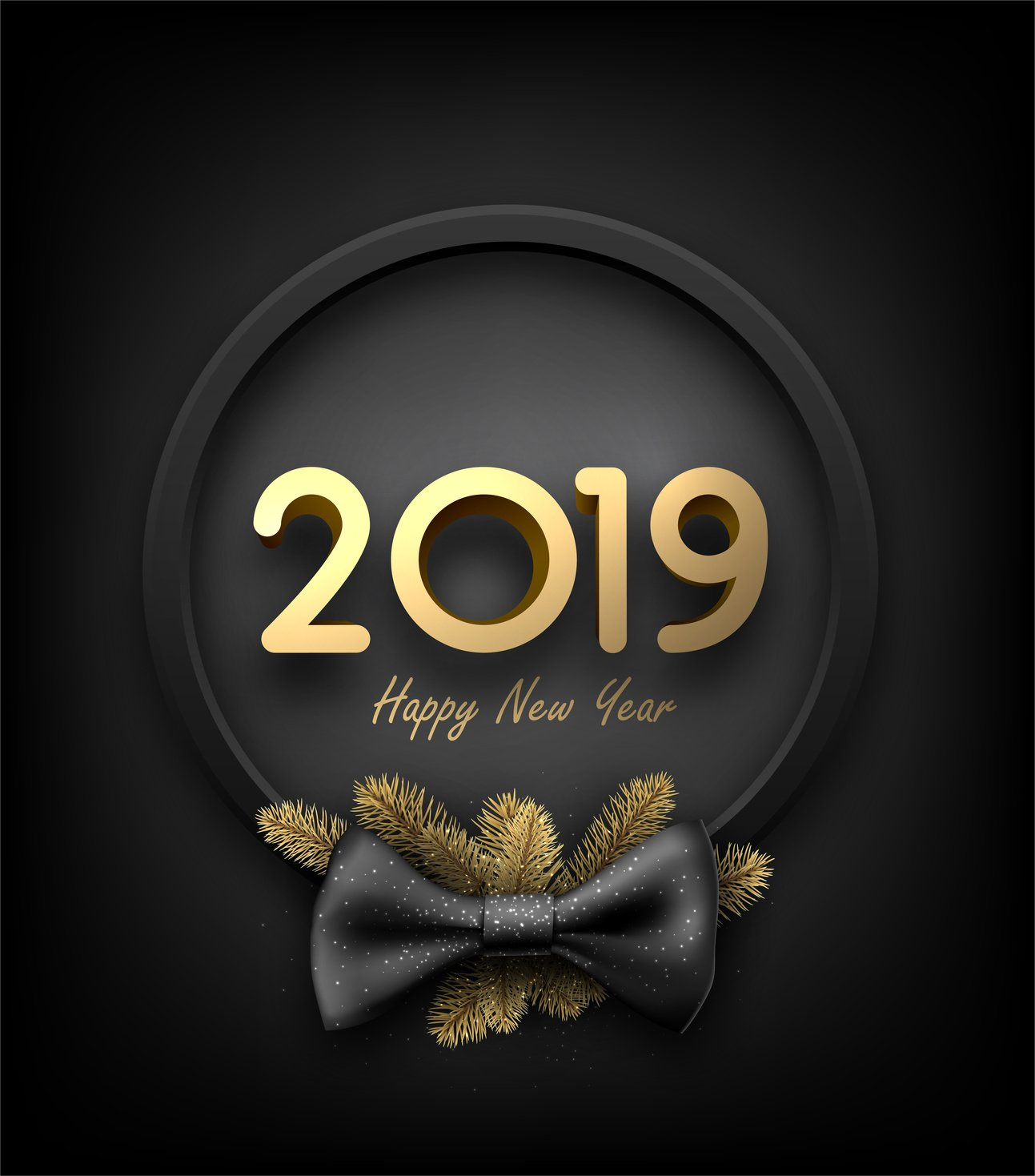 Black and gold 2019 happy New Year background with round frame and bow.
